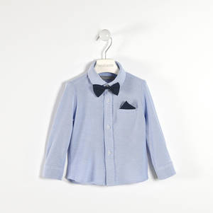 100% cotton shirt with handkerchief and bow tie BLUE