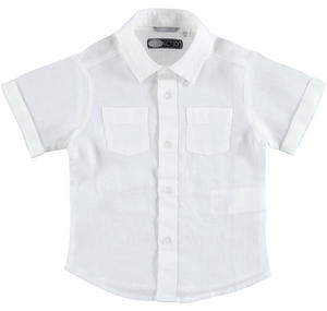 100% linen short sleeved shirt with two pockets WHITE