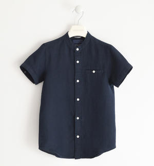Short-sleeved shirt 100% linen BLUE