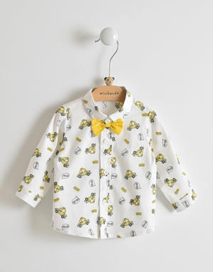 Long-sleeved shirt for baby boy with yellow bow tie WHITE