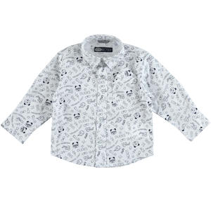 Long sleeved cotton shirt with a trendy pattern WHITE