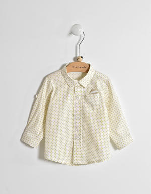 Long-sleeved baby boy shirt in cotton blend BEIGE