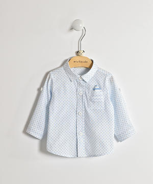 Long-sleeved baby boy shirt in cotton blend LIGHT BLUE