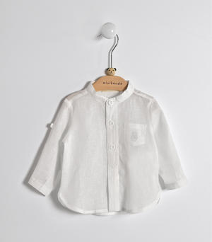 Long-sleeved baby boy shirt in linen and cotton blend fabric WHITE