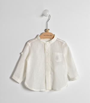 Long-sleeved baby boy shirt in linen and cotton blend fabric CREAM