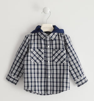 Checked shirt with detachable hood BLUE