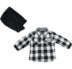 Checked shirt with detachable hood BLACK