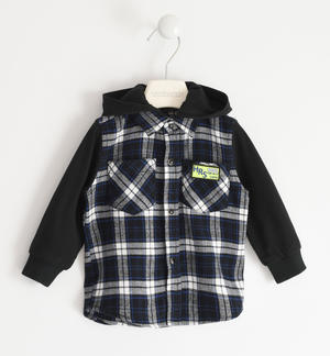 Checked shirt with detachable hood 100% cotton BLACK
