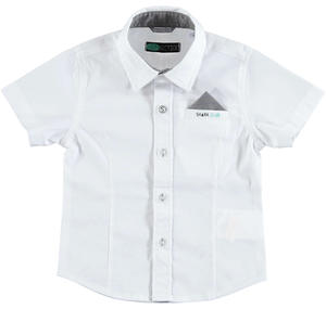 Short-sleeved stretch cotton shirt for boys WHITE