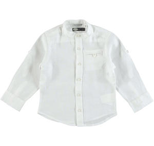 100% linen shirt with mandarin collar for boys WHITE
