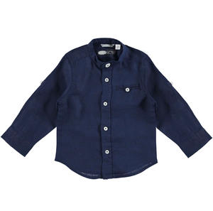 100% linen shirt with mandarin collar for boys BLUE