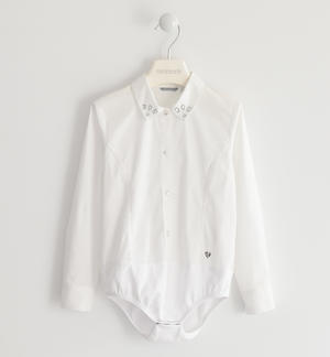 Body shirt made of poplin WHITE