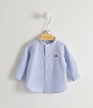 Light blue long-sleeved baby boy shirt in striped cotton blend BLUE