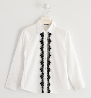 Poplin shirt with talking tape WHITE