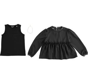 Two piece shirt with necklace BLACK