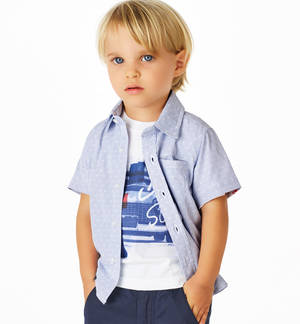 Micro-striped patterned shirt with side welt pocket for boys BLUE