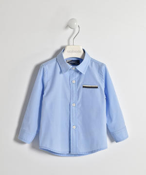 Boy's long-sleeved cotton shirt in blue Oxford BLUE