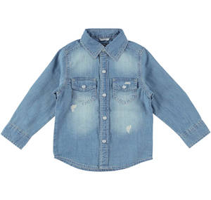Boys' long-sleeved denim shirt BLUE