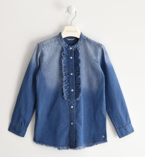 Denim shirt with ruffle detail BLUE