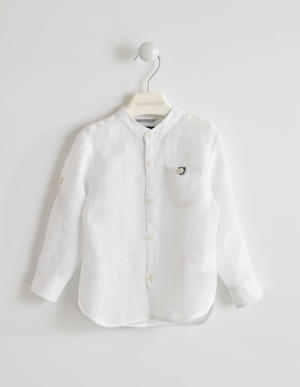 Boy's long-sleeved linen shirt WHITE