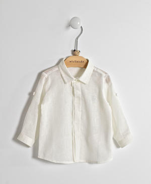 Baby boy shirt in cotton and linen blend CREAM