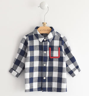 Newborn shirt of cotton and viscose blend fabric with check pattern BLUE