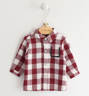 Newborn shirt of cotton and viscose blend fabric with check pattern RED