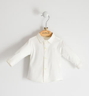 Stretch poplin shirt for newborn boy CREAM