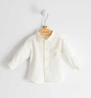 Newborn boy shirt in 100% cotton twill