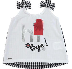 Cotton sleeveless top with bows on the straps WHITE
