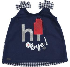 Cotton sleeveless top with bows on the straps BLUE