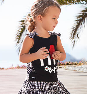 Cotton sleeveless top with bows on the straps BLACK