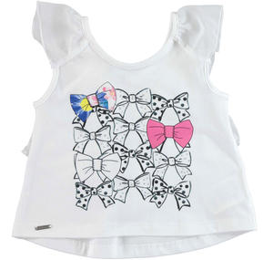 Stretch cotton flared sleeveless top with rhinestone bows WHITE