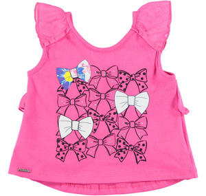 Stretch cotton flared sleeveless top with rhinestone bows PINK