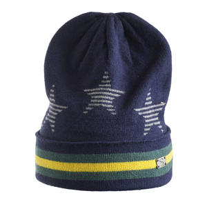 Tricot beanie with stars and stripes BLUE