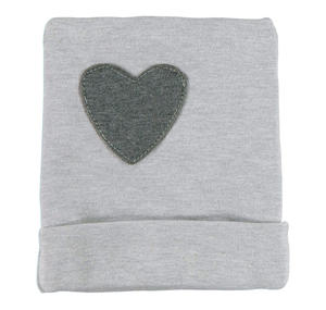 Beanie with star or heart patch  GREY