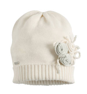 Beanie with little lurex roses CREAM