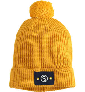 Sarabanda tricot hat cap model with pompons YELLOW