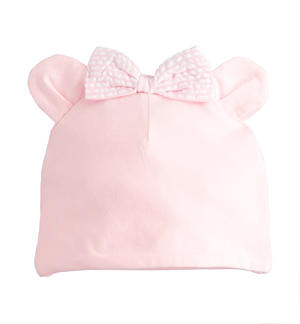 Soft stretch cotton newborn girl hat with ears PINK