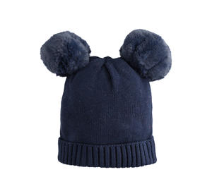 Carry-over tricot skullcap with faux fur pompon BLUE
