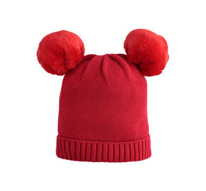 Carry-over tricot skullcap with faux fur pompon RED