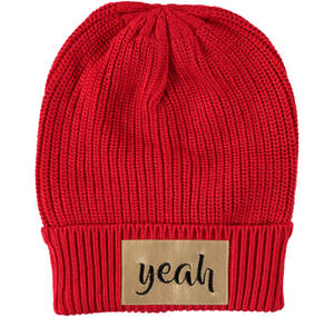 Beanie with rock appliqués  RED
