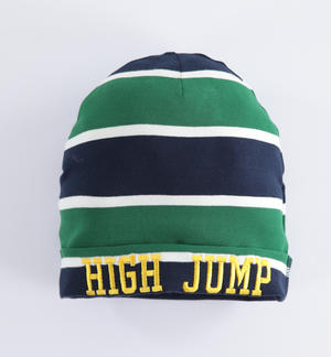 Beanie hat stripe pattern with college style embroidery GREEN