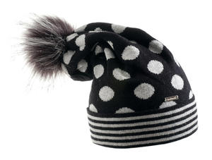 Beanie with stripes, polka dots and pompom  GREY