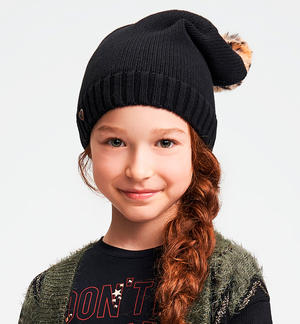 Beanie hat with animal print pompom BLACK