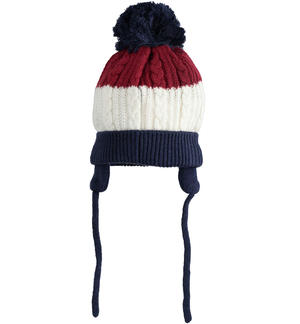 Beanie cap with pompom and ear flaps BLUE