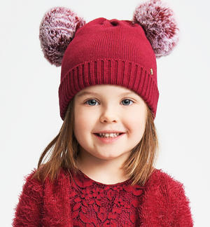 Tricot hat with double faux fur pompon PINK