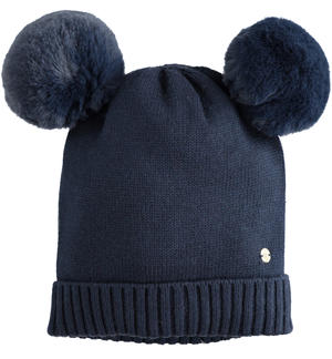 Tricot hat with double faux fur pompon BLUE