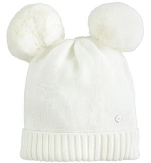 Tricot hat with double faux fur pompon CREAM