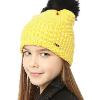 Knitted bobble hat YELLOW